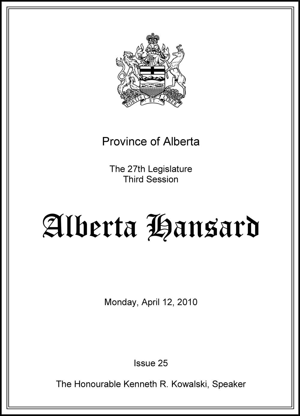 Alberta Hansard Monday, April 12, 2012