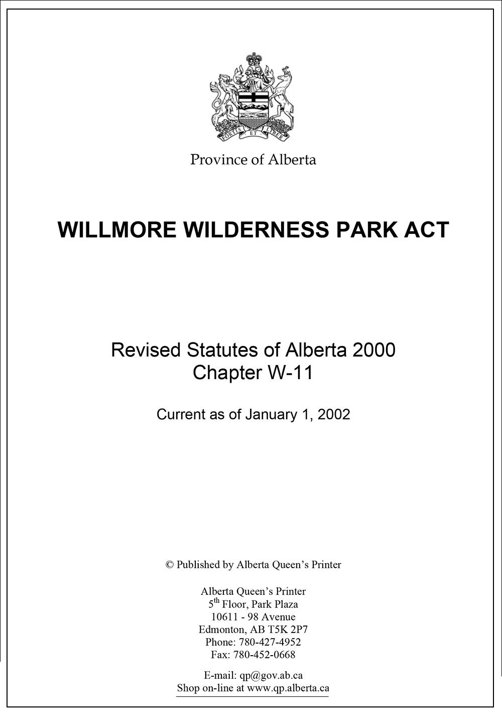 Willmore Wilderness Act